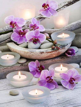 Diy Diamond Painting Cross Stitch Diamond Pink flowers and burning candles image