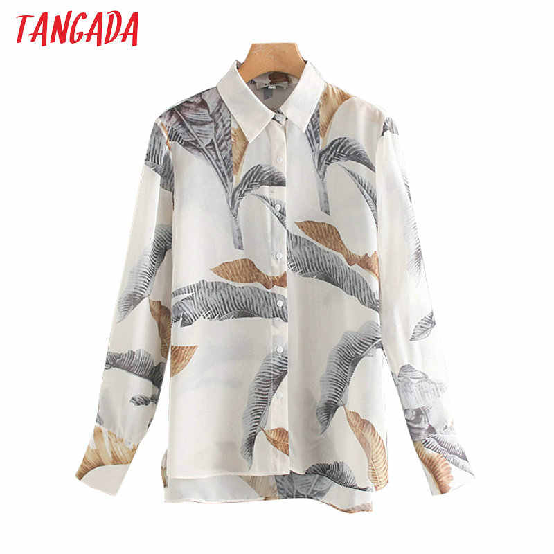 Tangada women elegant leaf print chiffon blouse long sleeve loose shirt office ladies work wear tops XN266