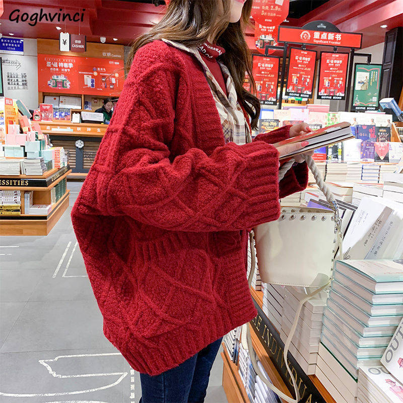 Women Sweaters Winter Cardigans Knitting Rhombus Horn Buckle Thick Loose All-match Students Autumn Korean Style Oversize Ulzzang