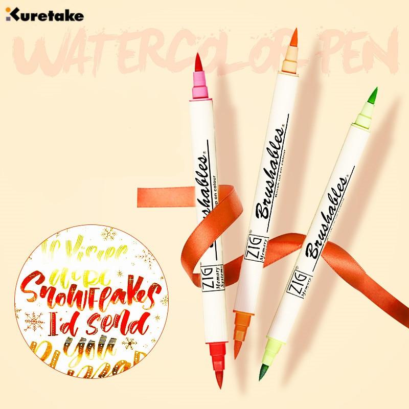 1pc Japan ZIG Kuretake MS-7700 BRUSHABLES Double Colors Watercolor Brush Pens Waterproof Painting Marker Multi-color Optional