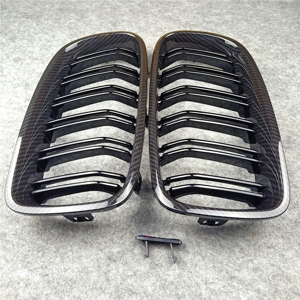 1 Pair Car Styling Carbon Fiber Look Style F31 Replacement <font><b>Grille</b></font> for BMW <font><b>F30</b></font> F31 F35 F80 2012+ 320i 325i 328i 335i Glossy Black image