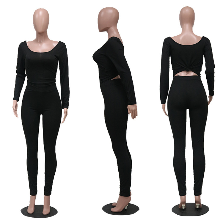 Fitness Women Tracksuit Long Sleeve Tops + Leggings Pants Stretchy Two Piece Outfits Sportswear Suits Matching Sets Active Wear 4