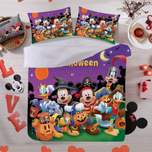 New 3D-printed Mickey Minnie Halloween Bedding Set Down Quilt Cover Pillowcase Bedroom Decoration Children's Gift Home Textile