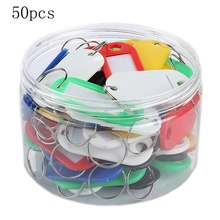 50Pcs Colored Plastic Keychains For Keys Luggage ID Tag Key Rings With Labels With Name Cards(China)