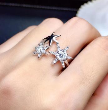 new style glitting moisanite gem ring silver jewelry VVS purity shinning better than diamond birthday gift not vulgar resizable