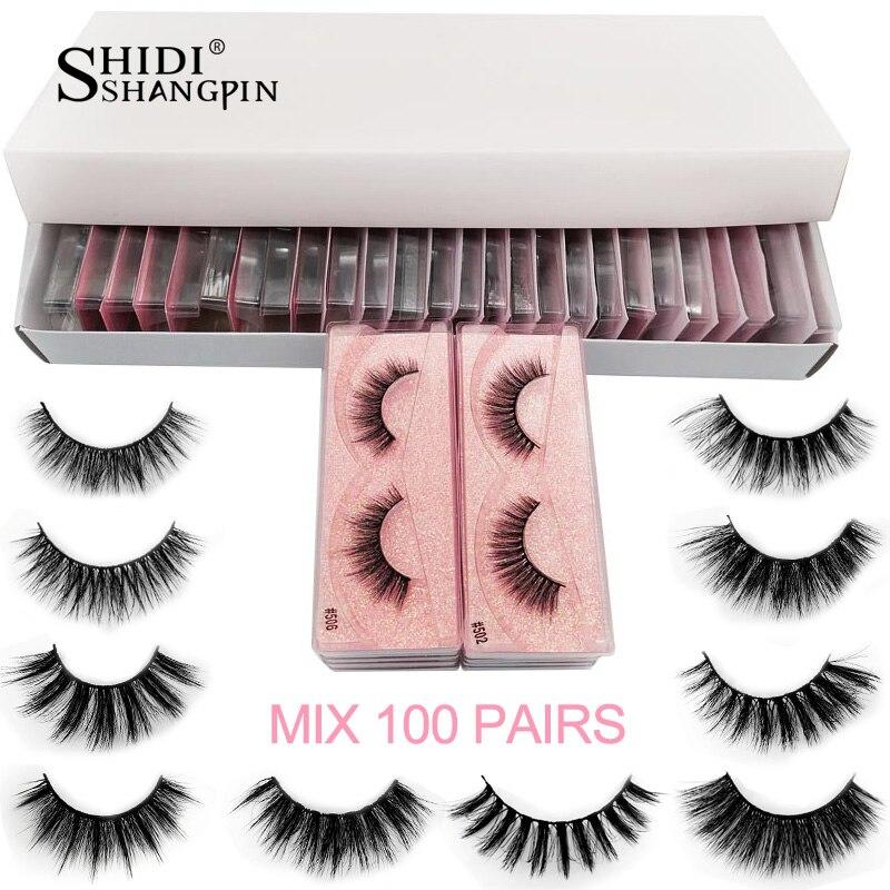 Wholesale 20/30/40/50/100 Pairs Bulk Mink Eyelashes Natural False Eyelash Extension Fluffy 3d Faux Lashes Cruelty Free Make Up