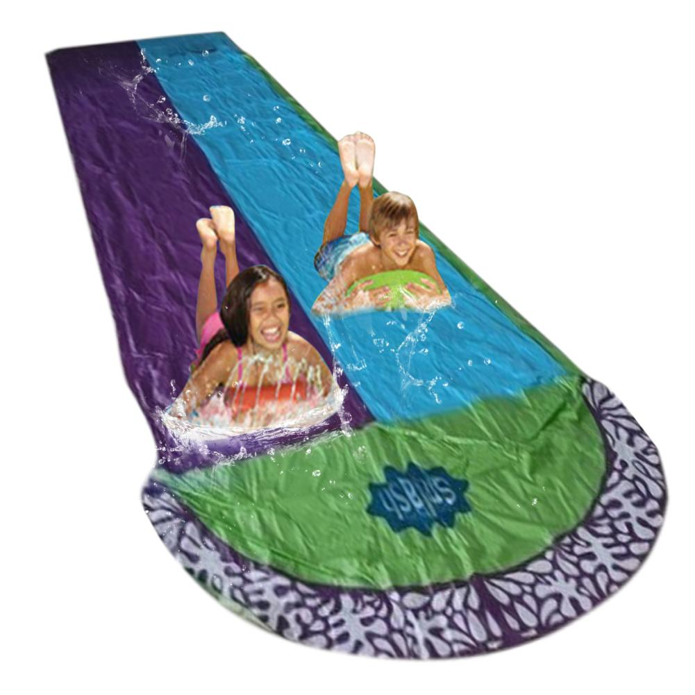 4.8x1.4m Surf 'N Double Water Slide Lawn Water Slides For Children Summer Pool Games Toys Backyard Outdoor Wave Rider