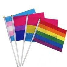 Женский флаг, размахивающий руками флаг, гей-гордость, 14x21 см, бисексуальные Таны, сексуальные флаги и баннеры с флажками