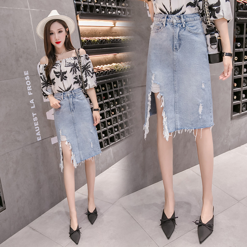 2019 Spring And Summer New Style Korean-style Slit Frayed Denim Skirt Skirt Medium-length Dress Women's