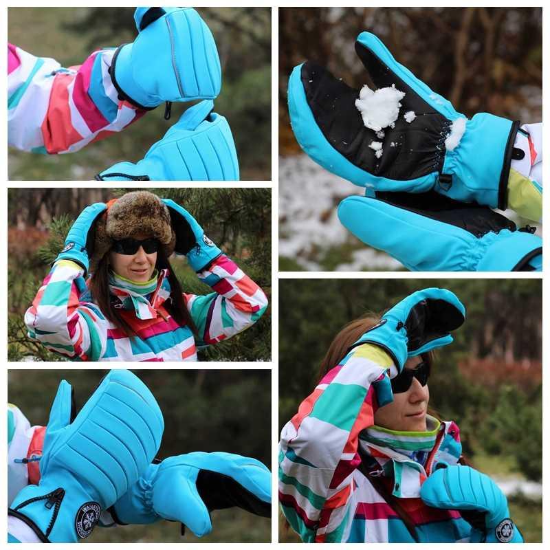 KUTOOK polar astar snowboard eldiveni sıcak su geçirmez rüzgar geçirmez kayak eldivenler kar araci keçi palmiye kar eldiven termal eldiven