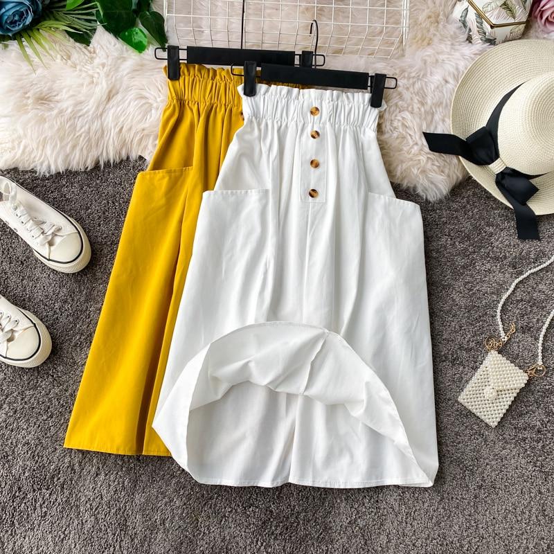 Fashion Korean Cotton Retro Skirt Female 2020 Women Pocket Elastic Waist Skirt Small A-line High Waist Skirt Womens Midi Skirts