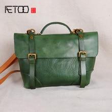 AETOO Pure handmade leather womens bag, mini head shoulder vintage literary slant bag