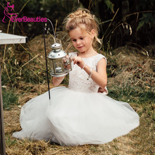 Vestidos De Comunion Flower Girl Dresses 2020 Tulle Appliques Communion Dresses Ball Gown Party Dress floral girls ball gown dress luxury kids girl wedding clothing birthday party communion banquet vestidos appliques dresses s183