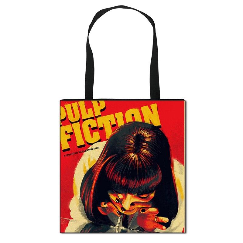 Pulp Fiction Handbag Women Lady Shopping Bag Girls High Capacity Travel Storage Bags Foldable Shoulder Bag Female