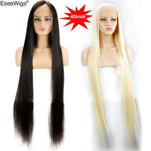 Image 1 - Eseewigs 28 30 32 34 36 38 40 42 inch Long Brazilian Virgin Human Hair Full Lace Wigs Silk Straight 613 Color for Women 150%