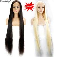 Eseewigs 28 30 32 34 36 38 40 42 дюйма длинные бразильские натуральные человеческие волосы, парики на полной сетке, шелковые прямые 613 цветов для женщин 150%