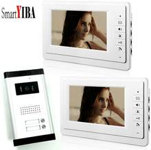 "SmartYIBA 7"" 2 Units Video Intercom IR Vision Wired Door Phone Hands-free Visual Intercom Entry Security System Kit(China)"