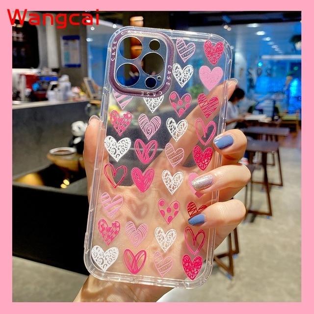 Clear Heart Case For Xiaomi Mi 11 10T Pro Poco M3 Redmi 9T 9A 9C Note 10 4G 9S 9 Pro Max  8 7 Case Love Phone Soft TPU Cover