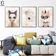 Home Decor Nordic Canvas Painting Wall Art Mouse Fox Cat Girl Animal Abstract Watercolor Print Kid Bedroom Living Room Poster