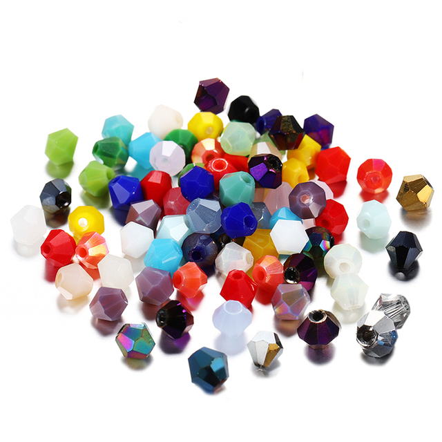 200pcs/lot 4*4mm Bicone Shape Crystal Glass Bead Loose Spacer Bead For DIY Jewelry Making Bracelet Necklace Accessories Supplies