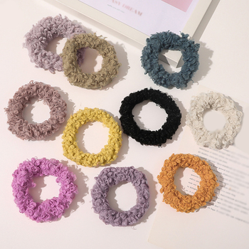 Candy Color Plush Elastic Hair Band Autumn Winter Girls Hair Accessories Fluffy Hair Ring Plush Scrunchies Lamb Wool Hair Rope image