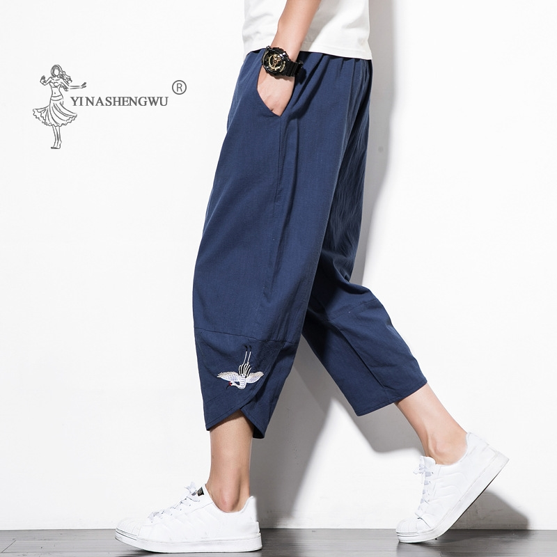 Japanese Casual Kimono Pants Loose Seven-Point Trousers Japan Men Traditional Asian Clothing Yukata Style Cotton Linen Costume