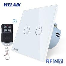 ستائر WELAIK الاتحاد الأوروبي مفتاح RF 433MHZ زجاج لوحة التحكم عن بعد ستائر تعمل باللمس التبديل ستائر الحائط التبديل AC250V A1923CLCWR01