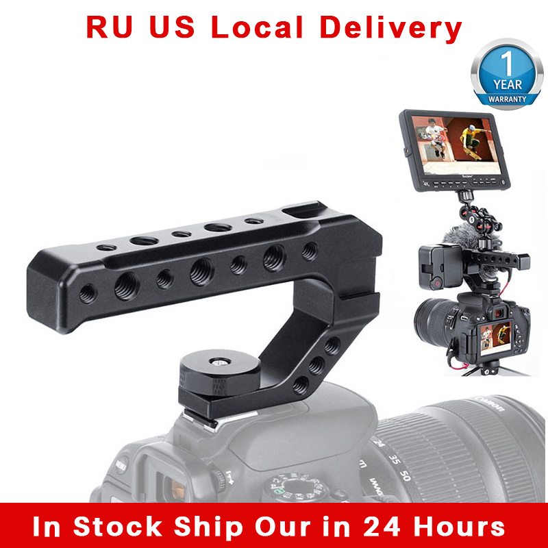 UURig R005 Universal DSLR Camera Rig Top Handle Three Cold Shoe Adapter Mount for LED Light Microphone Metal Cheese Handle Grip Photo Studio Accessories  - AliExpress
