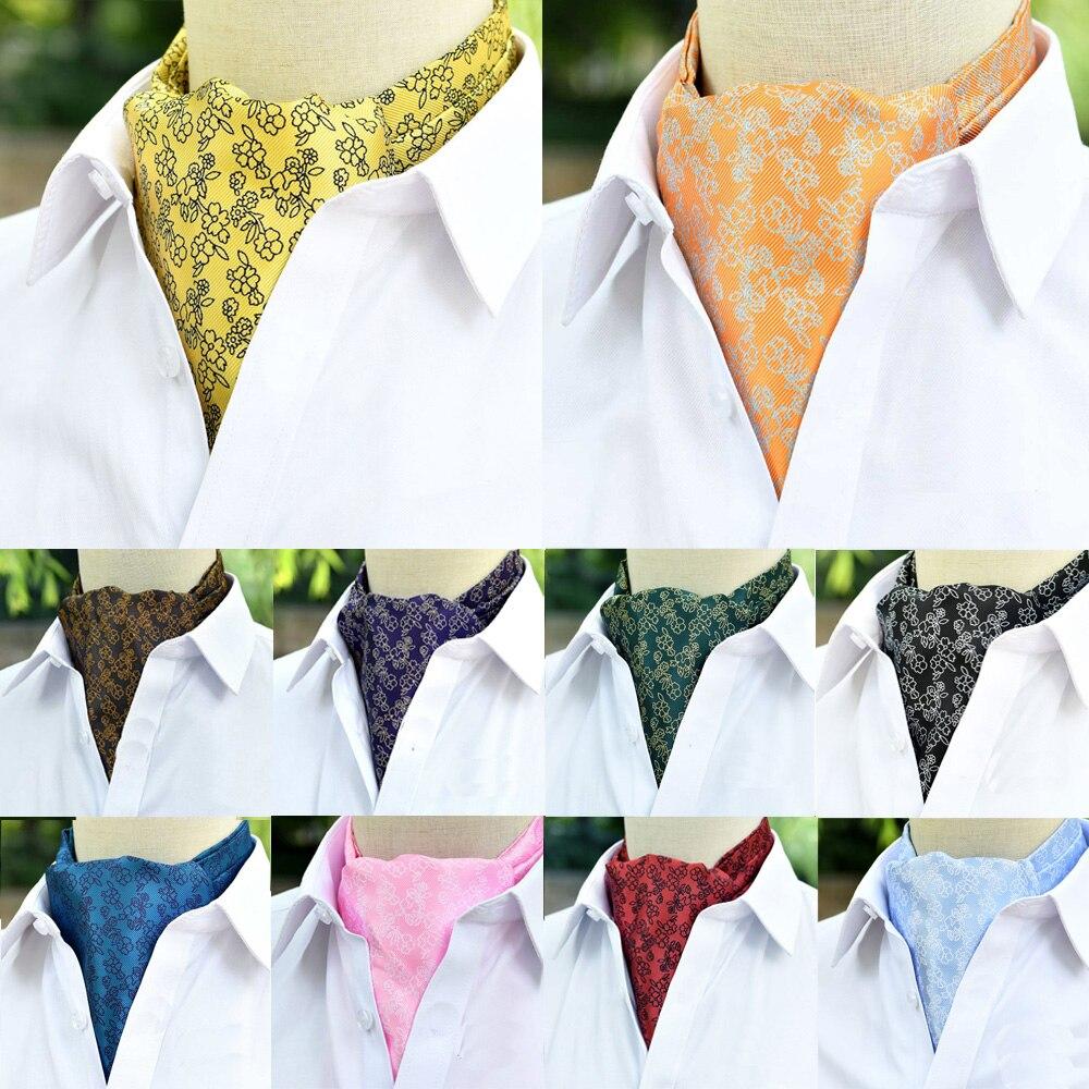 Mens Cravat Ascot Scarves Floral Print Ties Business Wedding Party Necktie