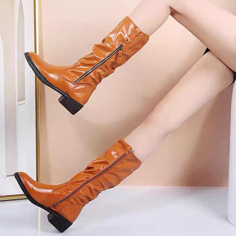 Grande Taille Femme Plissé Mi-Mollet Bottes Bout Rond Haut Haut Talon Plat Solide Chaussures