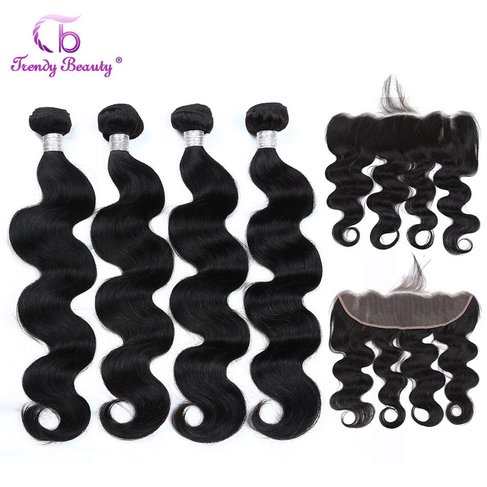 Peruvian Body Wave Bundles With Lace Frontal 13x4 Inches Pre-plucked 100% Human Hair Non-remy Bundles With Frontal Trendy Beauty