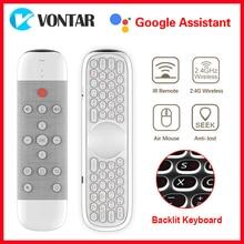 W2 Air Mouse Telecomando Vocale di Controllo 2.4GHz Wireless Tastiera IR Learning Microfono Giroscopio per Android TV Box H96 MAX x96 Max