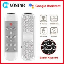 W2 – télécommande vocale Air Mouse 2.4GHz, clavier sans fil, Microphone d'apprentissage IR, Gyroscope pour Android TV Box H96 MAX X96 Max