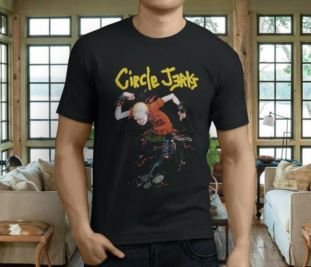 Circle Jerks Logo Men/'s Black T-Shirt Size S-3XL