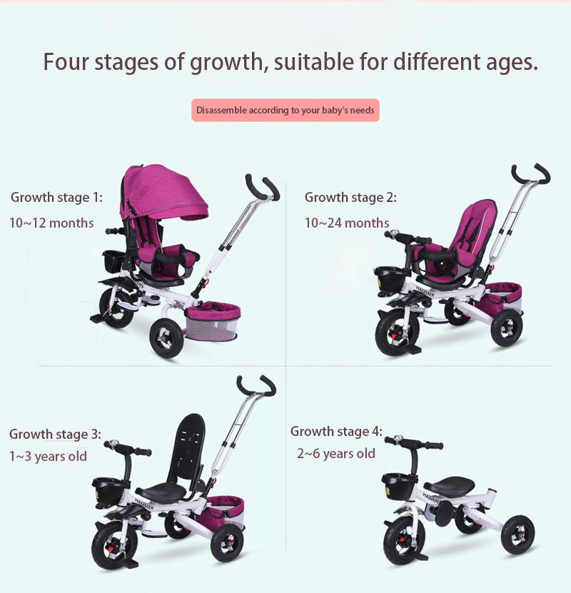 Multifunction Folding Can Sit and Lie Children's Tricycle Baby Stroller Bicycle Reclining Seat Space Wheel Three Wheel Stroller
