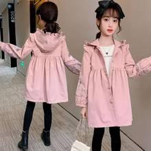 Dzieci dziewczynek kurtki 2020 jesień wiosenna odzież wierzchnia dla dziewczynek trencz dziecięca odzież wierzchnia dla 3-14 lat dziewczyny wiatrówka płaszcze tanie tanio Moda COTTON CN (pochodzenie) Stałe REGULAR Skręcić w dół kołnierz Kurtki płaszcze Pełna Pasuje prawda na wymiar weź swój normalny rozmiar