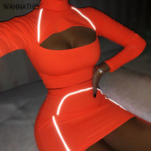 WannaThis Reflective Long sleeve Hole Hollow Out  2 Pieces Set Crop Top and Mini Skirt Neon Green Fashion Club Autumn Women Sets