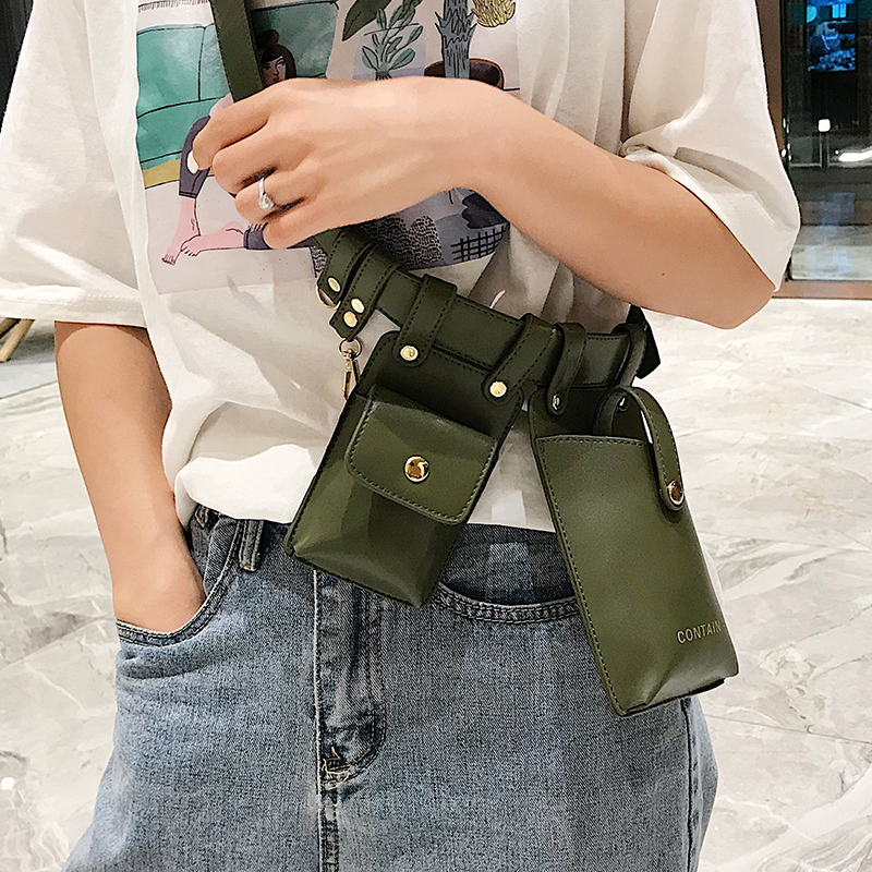 Women Waist Bag Fashion Leather Waist Belt Bag Crossbody Chest Bags Girl Fanny Pack Small Phone Pack Shoulder Strap Packs CK1123