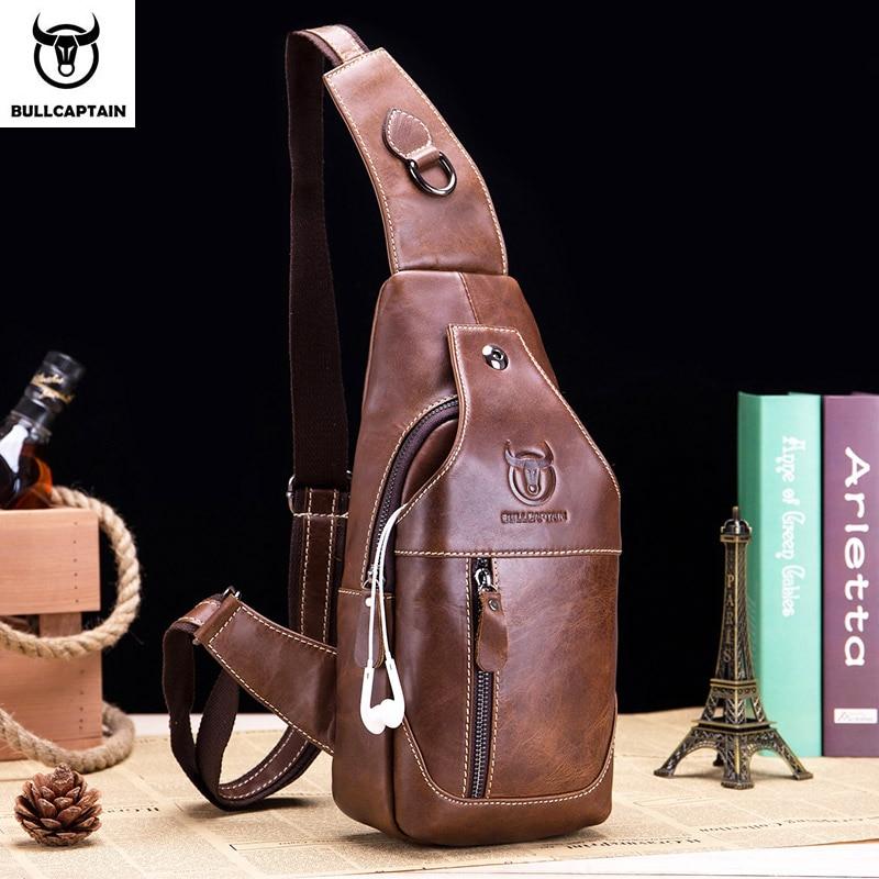 Image 2 - BULLCAPTAIN Fashion Genuine Leather Crossbody Bags men casual  messenger bag Small Brand Designer Male Shoulder Bag Chest  Packcrossbody bag menbrand shoulder bagdesigner shoulder bag -