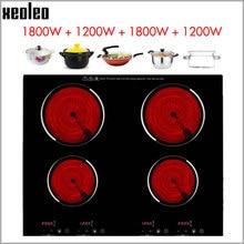 XEOLEO usage domestique cuisinière électrique en céramique cuisinière à Induction 1200W + 1800W quatre brûleurs plaque de cuisson électrique avec cuisinière en céramique de synchronisation