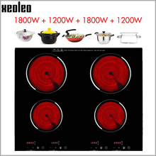 Cooker Timing-Ceramic-Stove Electric-Hob Built-In XEOLEO with 1800W Four-Burner Home-Use