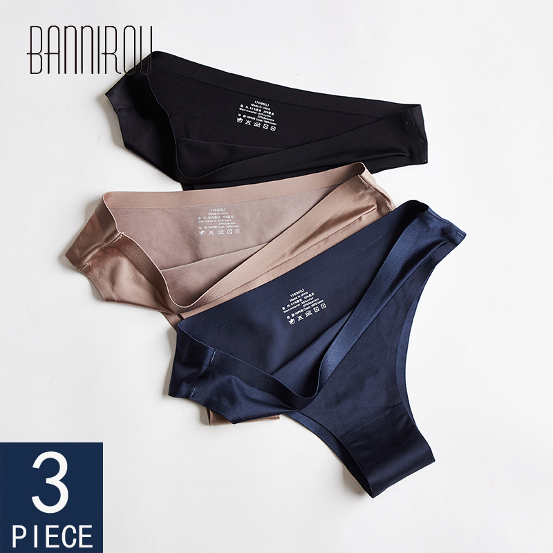 Panty   Woman Underwear Sexy Seamless Sports Female T-back Solid Soft G-string Thong For Woman Underwear Ice Silk 3 Pcs BANNIROU