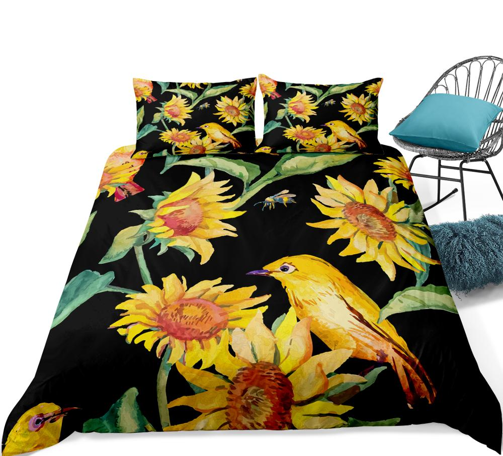 Sunflower Bedding  Yellow Black Bedclothes Yellow Bird And Floral Duvet Cover Set Dropship Bedding Set Home Textile Sunflowers