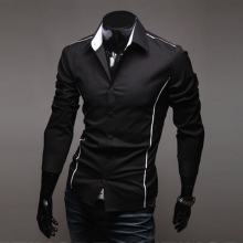 2020 Men's Luxury Stylish Casual Designer Edge Piping Long Sleeve Dress Shirt Muscle Fit Shirts 3 Color 5902