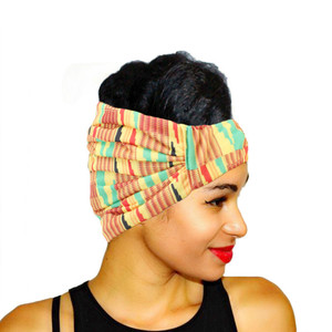 Women Elastic Headwear Turban Head Scarf African Print Stretch Cotton Headband Ladies Sport Bandage Head Wrap Hair Accessories(China)
