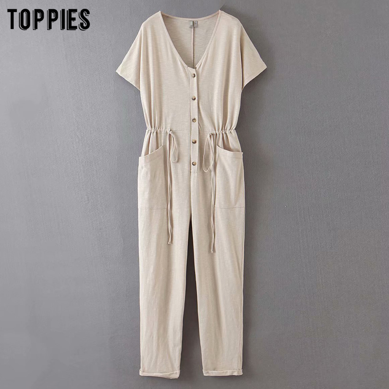 Summer Jumpsuits Short Sleeve Rompers Women Casual Vacation Jumpsuits Full Length Trousers Drwasting Waist