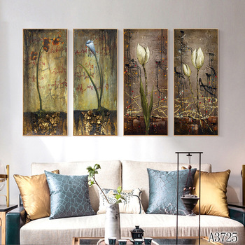 Modern Abstract Oil Painting Print on Canvas 4pcs Abstract Flower Canvas Art Printing Painting Wall Art Picture for Home Decor