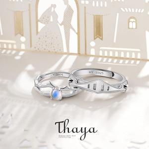 Image 2 - Thaya Natuurlijke Blauw Licht Maansteen Ringen Romantische Ring 100% S925 Zilveren Armour Bands Voor Vrouwen Vintage Elegante Sieraden