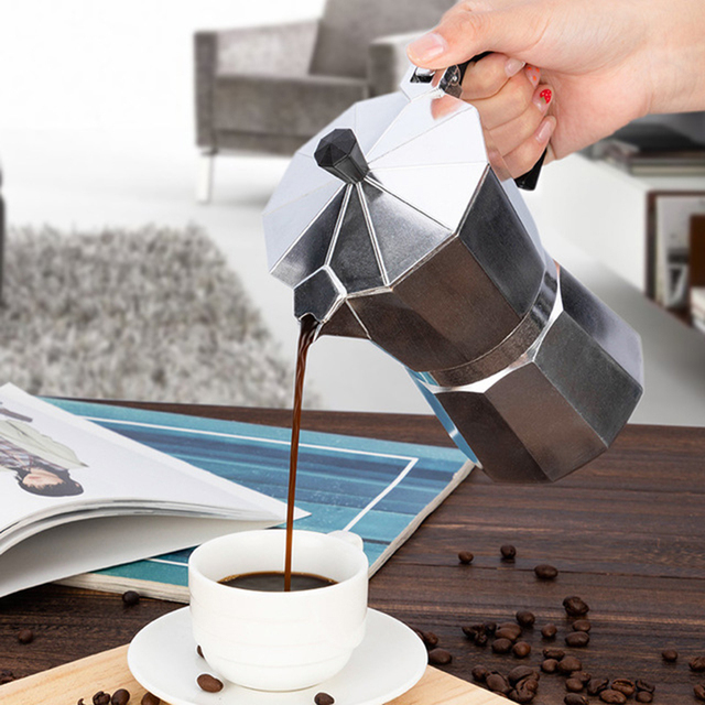 Italian Moka Espresso Coffeeware Mocha Latte Aluminum Coffee Maker Percolator Pot 100/200/300/450/600ML Stovetop Coffee Machine 4