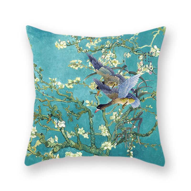 Van Gogh Lukisan Minyak Double-Sided Polyester Sarung Bantal Dekorasi Ranting Burung Pola Liburan Keluarga Hadiah Kamar Tidur Bantal Cover